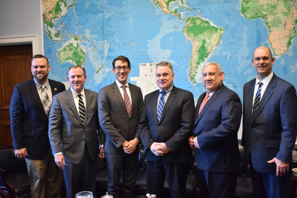 From left: AMO Chief Engineer Mike Hoffman, American President Lines President Eric Mensing, TOTE Director of Communications Christopher Smith, Congressman Chris Smith (R-New Jersey), SIU Executive VP Augie Tellez and Maersk Vice President U.S. Government Relations Doug Morgante