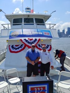 Deckhand Steven Matos (left) and Capt. Frank Virginia are pictured aboard the Susan B. Anthony.