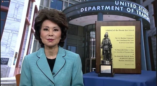 Screen shot of DOT Secretary Chao